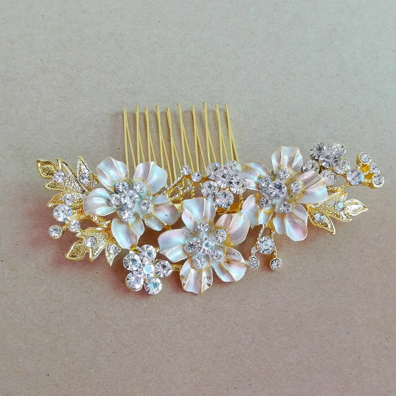 "Yellow Gold Hair Comb Flower Bridal Wedding Hair Piece - ""Sarah"""