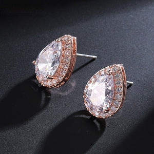 "Rose Gold Teardrop Bridesmaid Earrings - ""Hannah"""