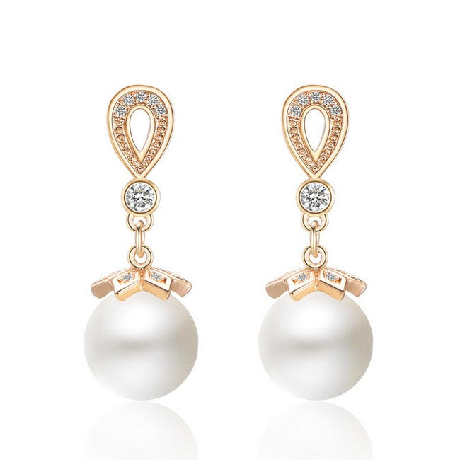 "Dangle Pearl Rose Gold Earrings - ""Emily"""