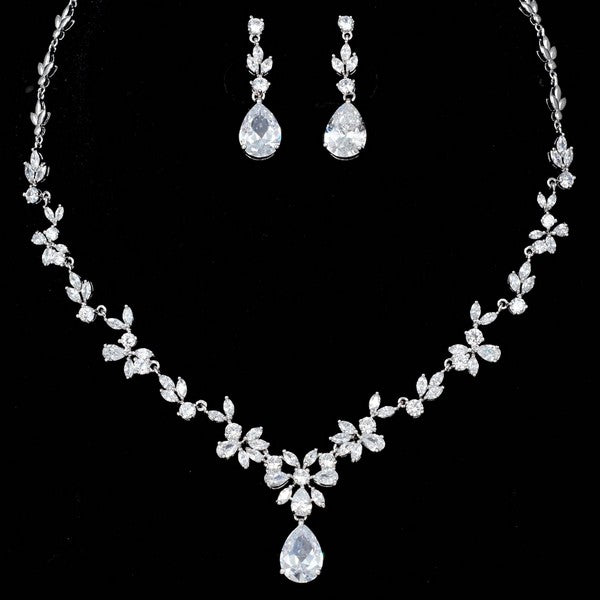 "Bridal Jewelry Sets - CZ Earrings and Necklace - ""Angela"""