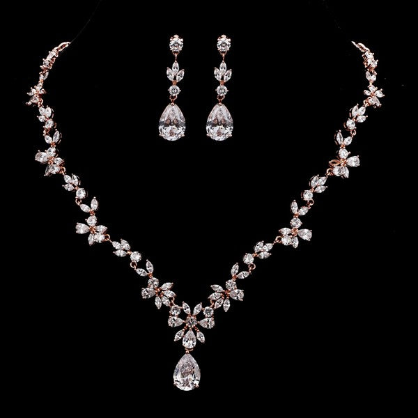 Bridal Jewelry Sets wedding jewelry sets necklace and earrings rose gold