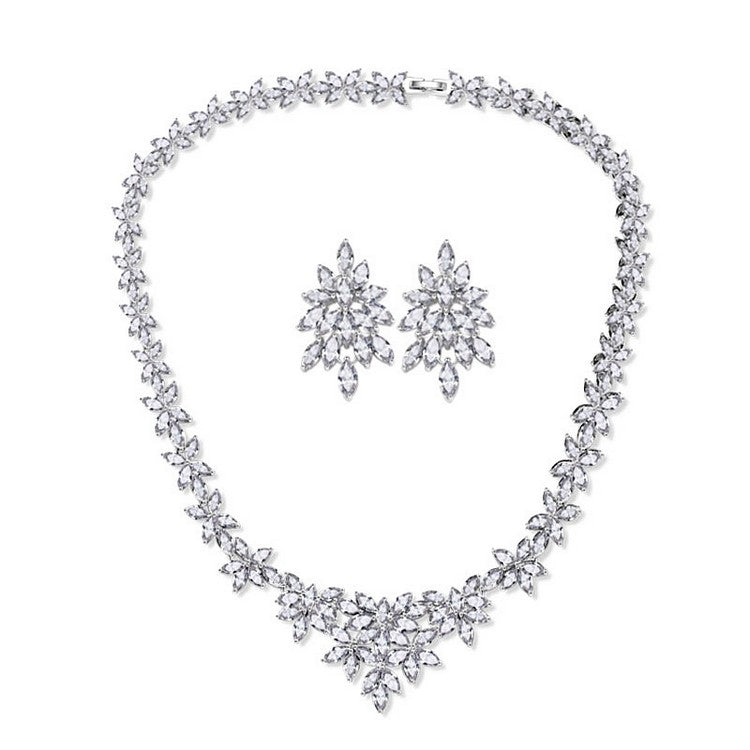zirconia bridal jewelry sets necklace and earrings