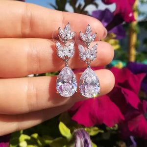 CZ Flower Rose Gold Earrings Teardrop Wedding Prom Jewelry