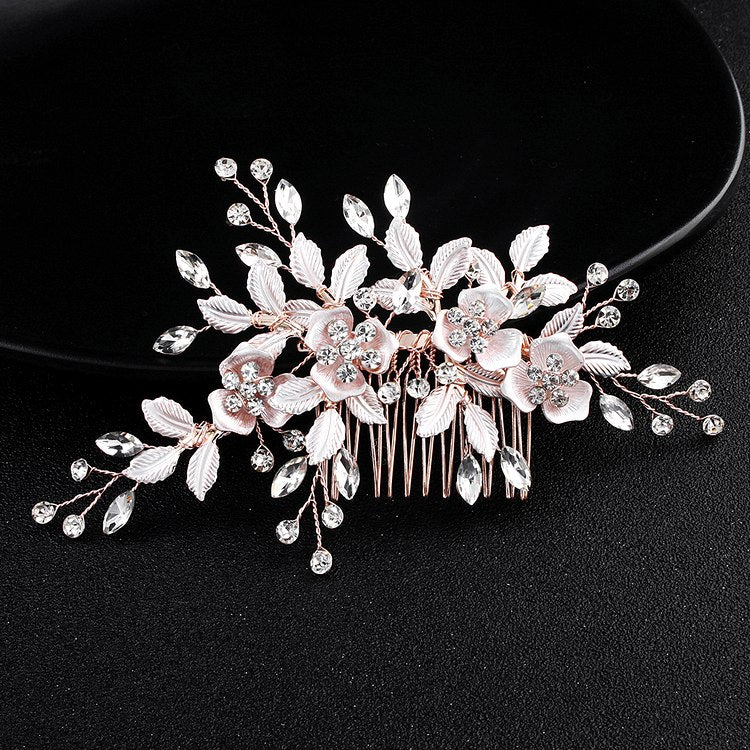 bridal hair accessories rose gold hair comb - Rachel