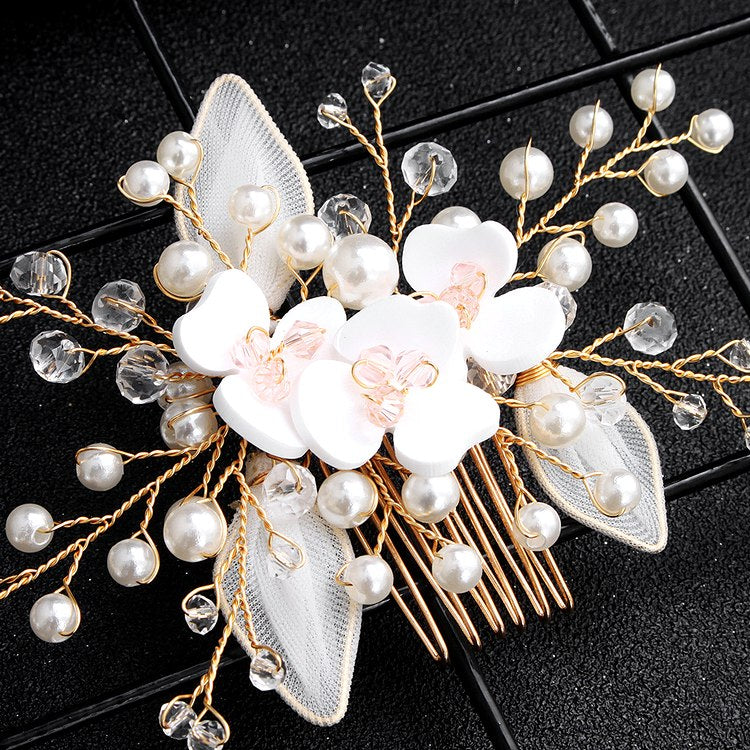 bridal hair piece flower pearl crystal hair comb - Jamie