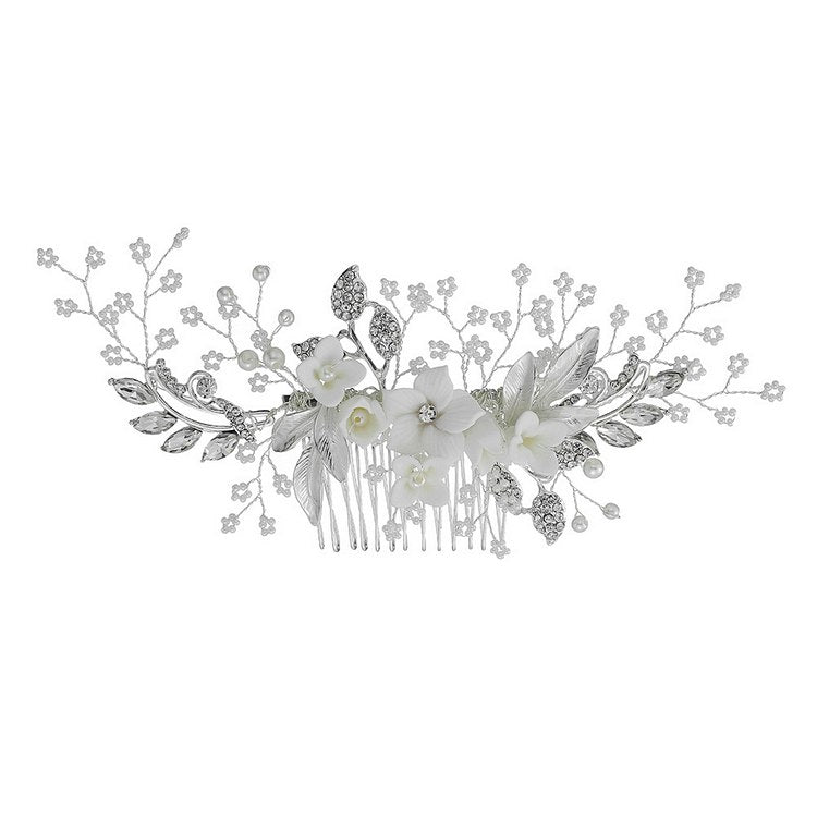 bridal hair piece flower wedding hair comb - sara