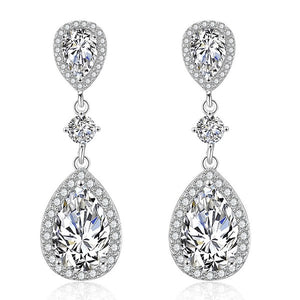"bridesmaid gifts teardrop wedding earrings silver - ""Natasha"""