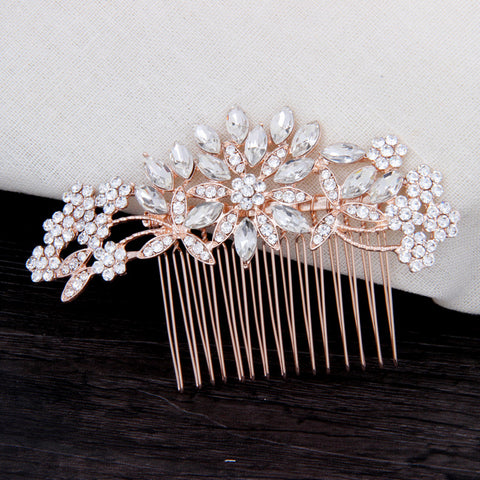 "Rose Gold Wedding Hair Piece Crystal Clips - ""Ashley"""