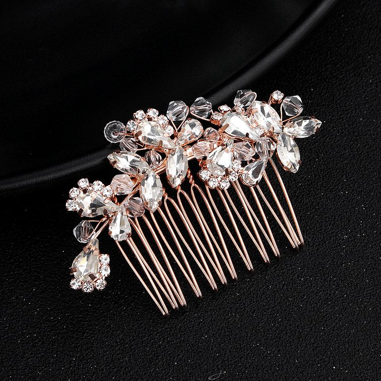 crystal bridal hair comb silver vintage wedding hairpiece - olivia