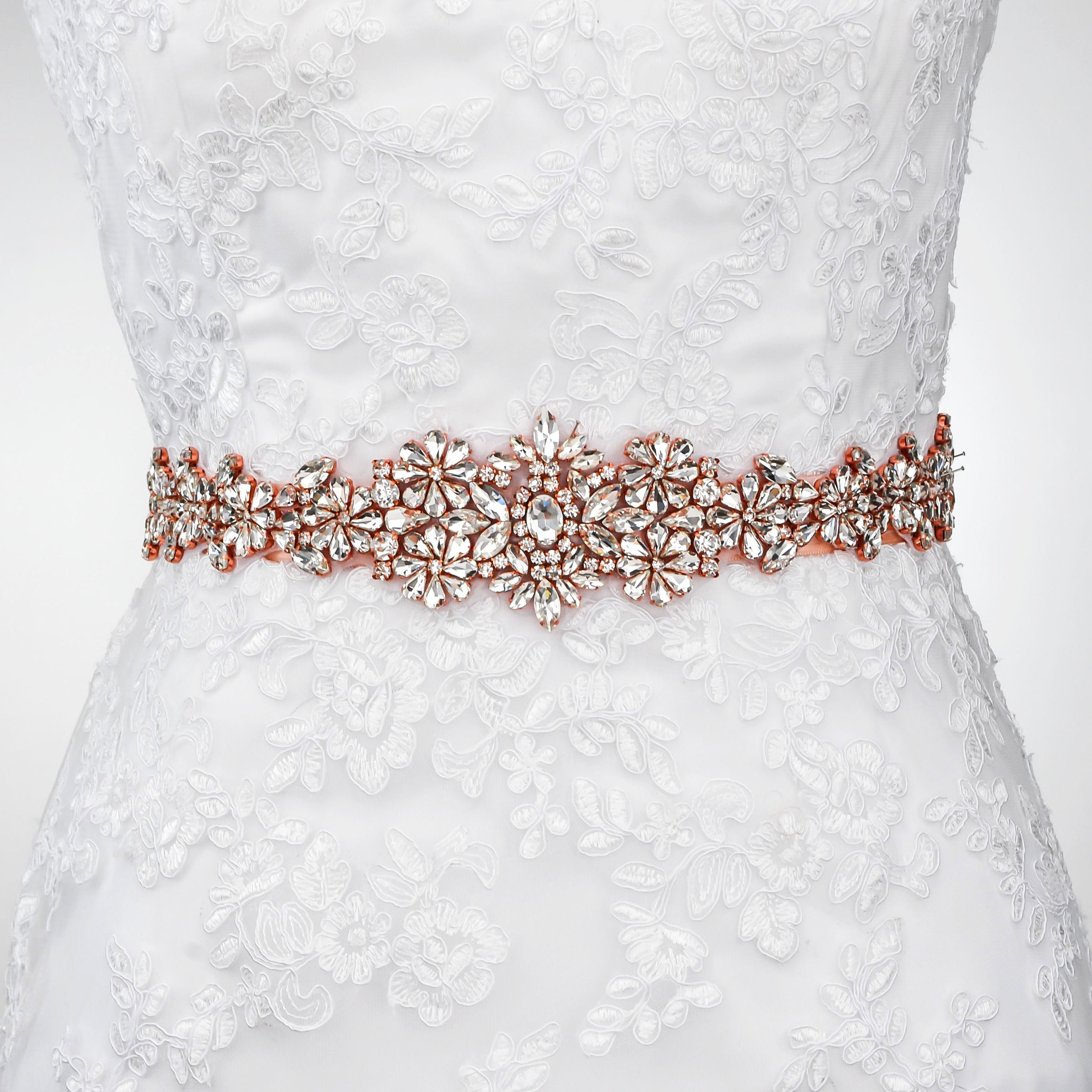 "Crystal Wedding Dress Belt Sash Rose Gold - ""Sarah"""