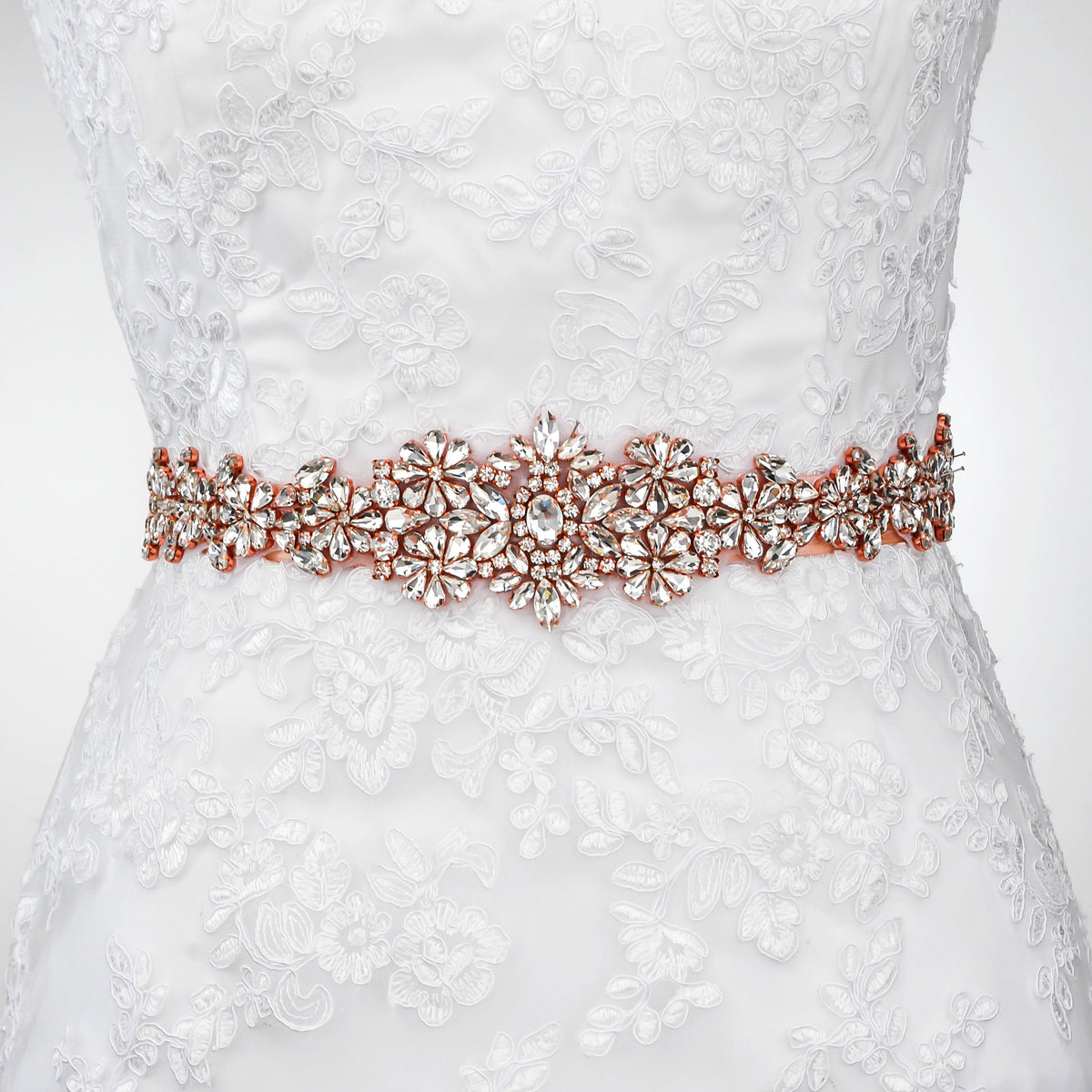 Crystal Wedding Dress Belt Rose Gold Bridal Belt -