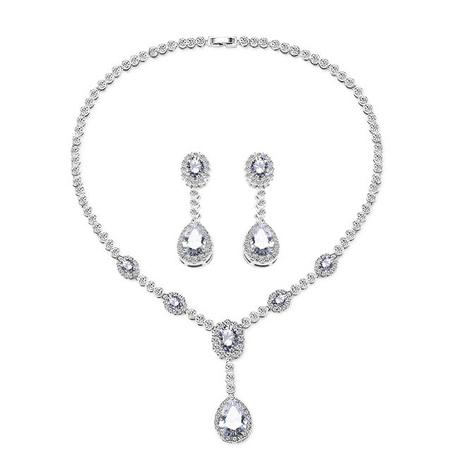 cz bridal jewelry set silver teardrop Angela