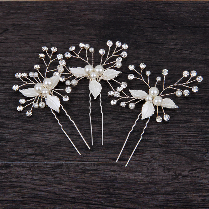 "Set of 2 Silver Bridal Hair Pins Crystal Leaf Hair Pin Clips - ""Sophie"""