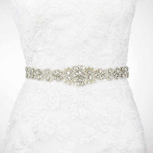Silver Rhinestone Sash Belt Skinny Wedding Dress Belt -\