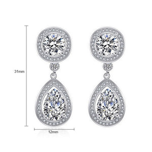"Silver CZ Wedding Earrings - ""Janelle"""