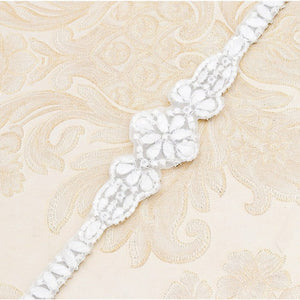 "Thin wedding belt crystal bridal dress belt sash - ""Natalie"""