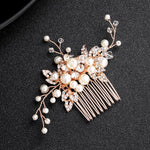 wedding hair accessories rose gold pearl crystal headpiece - Victoria