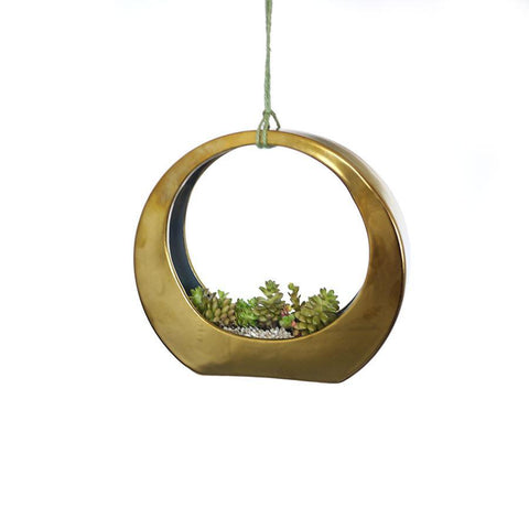 Gold Ring Ceramic Planter