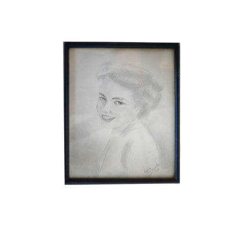 Signed Vintage Graphite Portrait of Woman