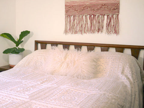 Large Boho Chic Hand Embroidered Bedspread