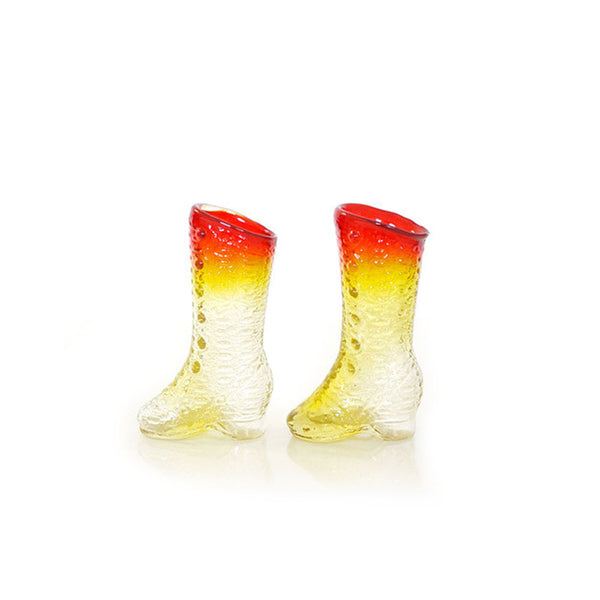 Vintage Ombre Glass Boot Shot Glasses / Bud Vases