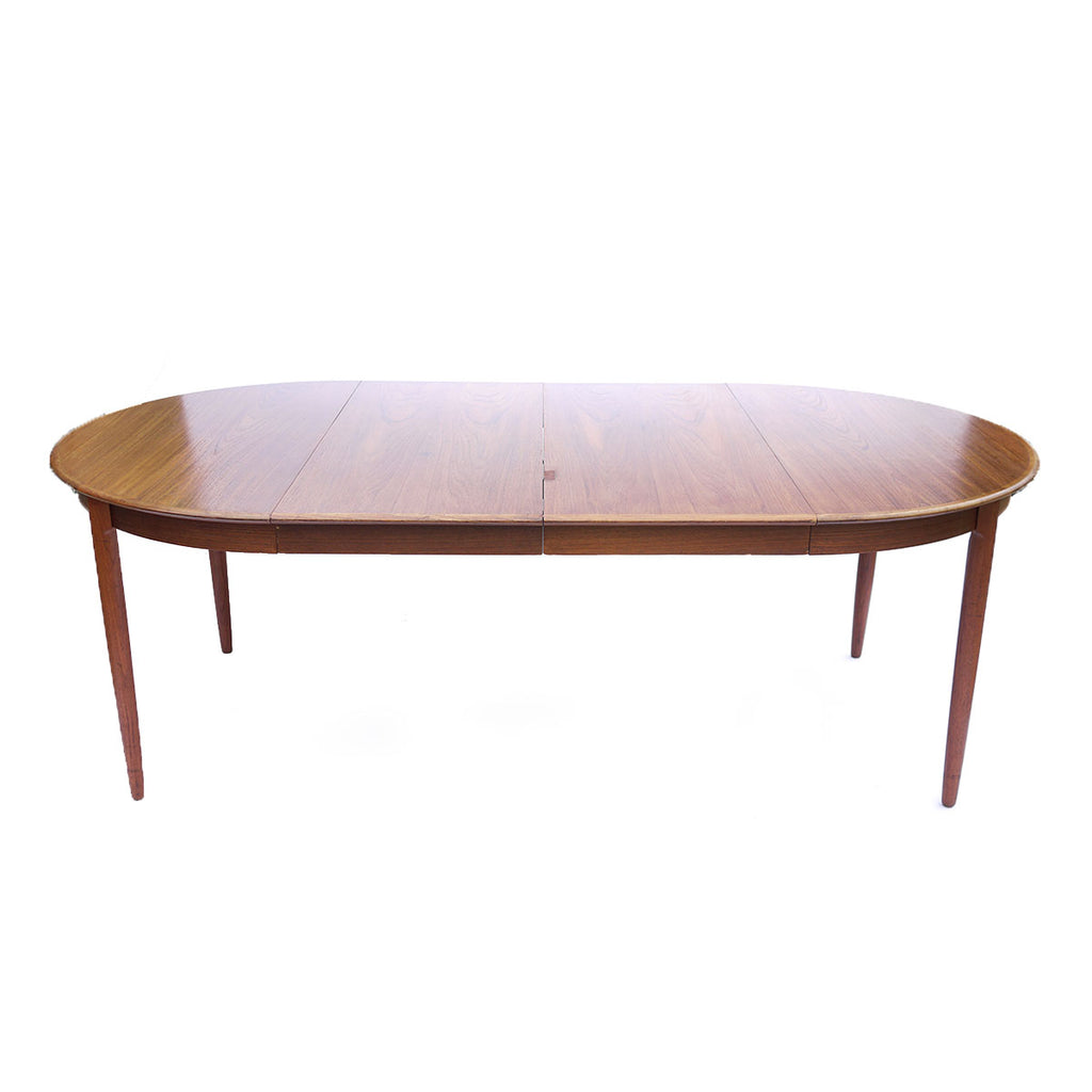 Round Danish modern dining table w/ 2 leaves