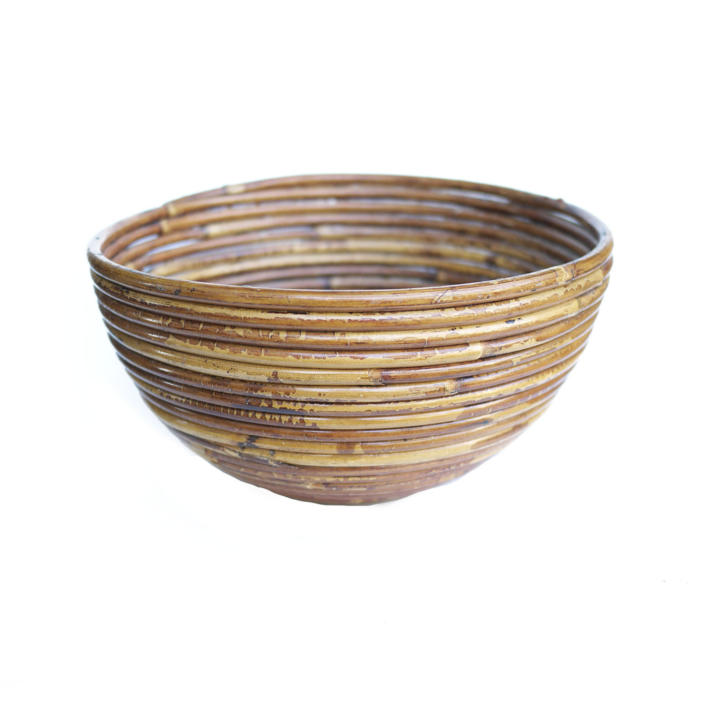 Mid Century Rattan Bowl Made In Italy