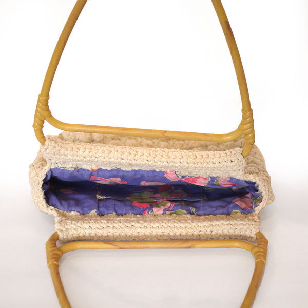 Vintage Boho Macrame and Bamboo Purse
