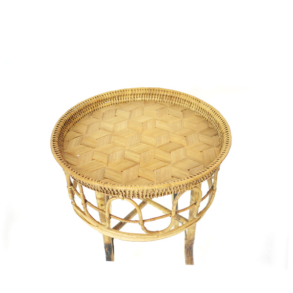 Vintage Boho Bambooo Side Table