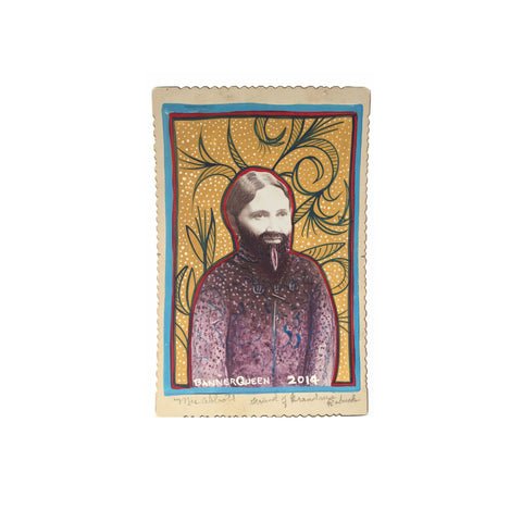 Altered Antique Cabinet Card | Bearded Woman II