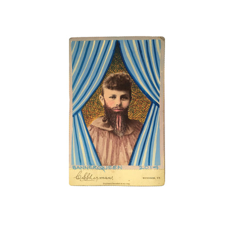 Altered Antique Cabinet Card | Bearded Woman I
