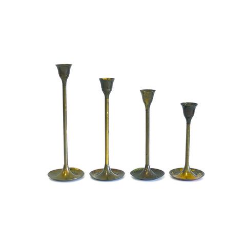 Vintage Brass Tulip Candle Holders