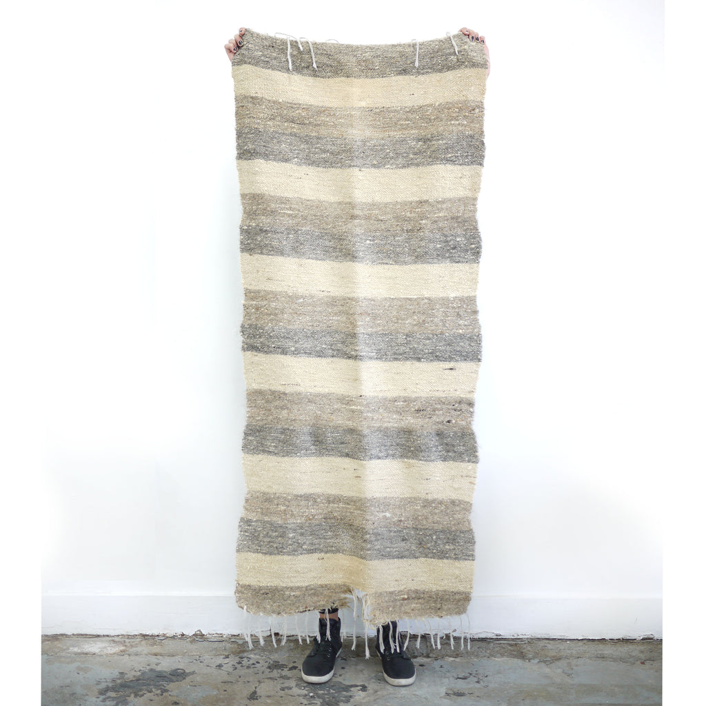 Rustic Woven Wool Striped Rug