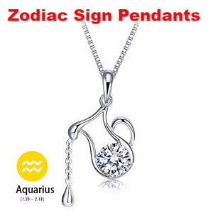 12 Zodiac Signs Silver Plated Crystal Pendant Necklaces