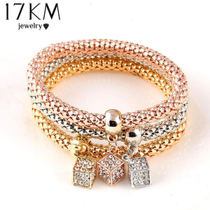 3 PCS/Set Crystal Bracelet Elastic Bangles (13 designs)