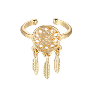 Feather charm open-end dreamcatcher Ring (Gold / Silver)