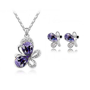 Silver Plated Diamond butterfly pendant necklace & Earrings