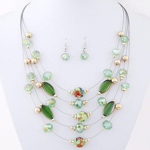 Multi-layer Colourful Beaded Necklace & Earrings Set