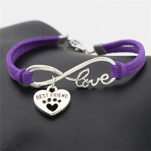 Dog/Cat Lover (Paw/Best Friend) Charm Pendant Leather Love Bracelet (19 colours)