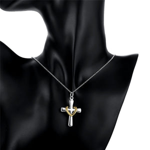 Cross love heart silver plated necklace
