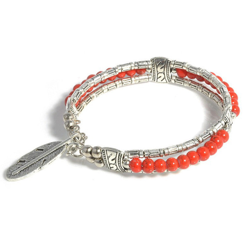 Beaded Feather Charm Bracelets