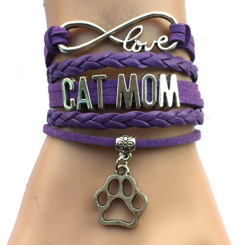 Infinity Love Cat Mom Heart Animal Paw Bracelet (3 colors)
