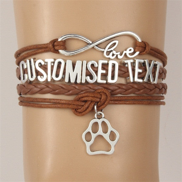 Customized Text Infinity Love Bracelets with Animal Paw (Get your name on the bracelet)