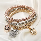 3Pcs/set Owl Bangles Elastic Charm Crystal Beaded Gold Plated Bracelet