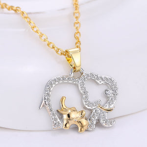 Big Elephant with Baby Pendant (Hot Gold Silver Plated)