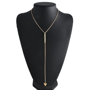 Triangle Pendant Long Chain Necklace (Gold Color)