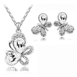 Crystal Butterfly Pendant (Necklace + Earrings)