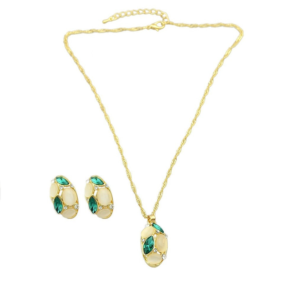 Gold Chain with Opal / Colorful Crystal Pendant Necklace & Stud Earrings
