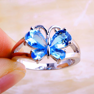 Blue Topaz CZ Silver Butterfly Ring