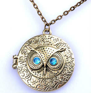 Fashion Retro Chic Owl Eye Bronze Pendant Chain Necklace
